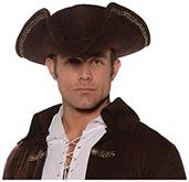 Tricorn Pirate Adult Costume Hat Brown
