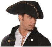 Tricorn Pirate Adult Costume Hat Black