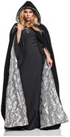 "63"" Deluxe Velvet Adult Costume Accessory Cape - Silver Satin Lining"
