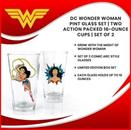 DC Wonder Woman Pint Glass Set | Two Action Packed 16-Ounce Cups | Set Of 2