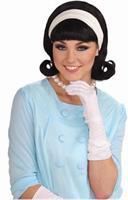 50's Flip Costume Wig With Headband Black