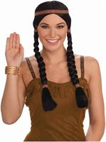 Native American Princess Braided Adult Costume Wig Black