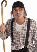 Old Man Moustache,Eyebrows,Glasses,Hat andAttached Hair Costume Kit
