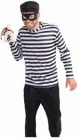 Burglar Costume Shirt w/Hat, Mask and Money Bag Adult