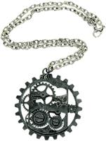 Steampunk Dark Metal Gear Costume Pendant Necklace
