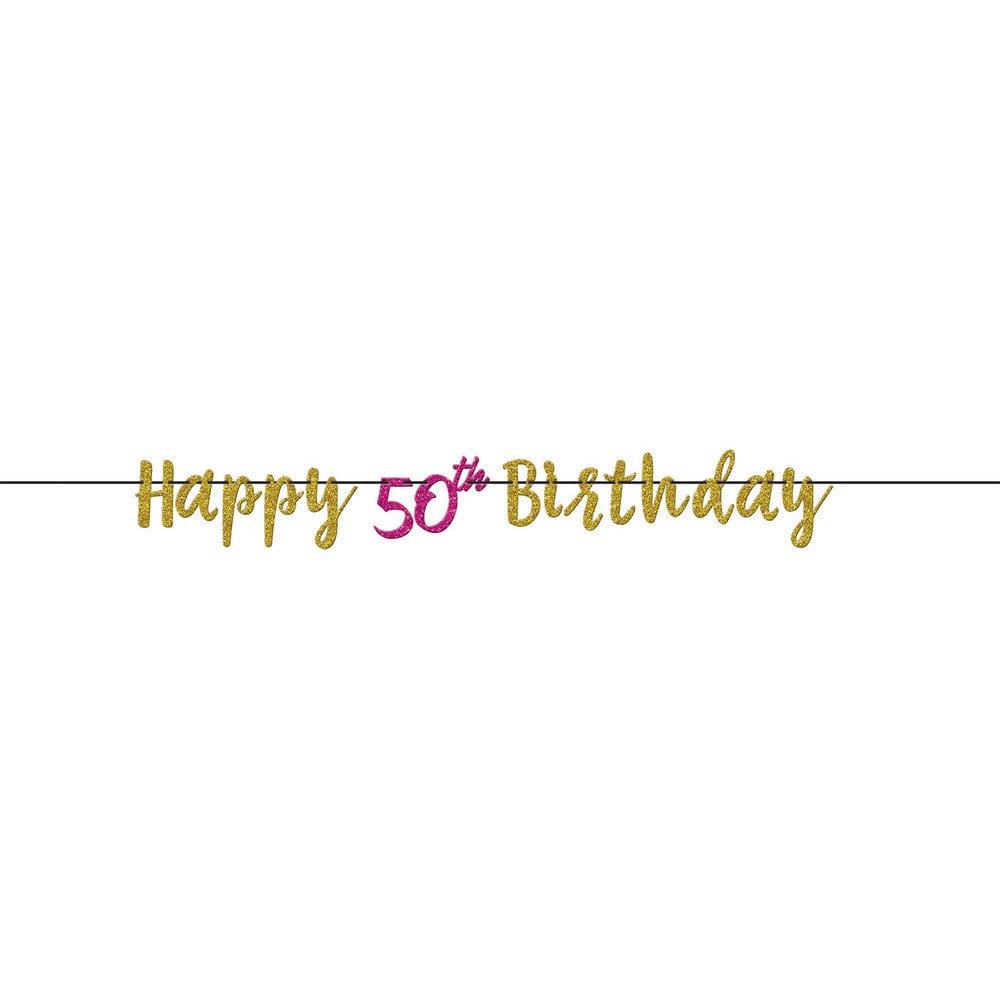 Pink & Gold 50th Birthday Glitter Letter Banner