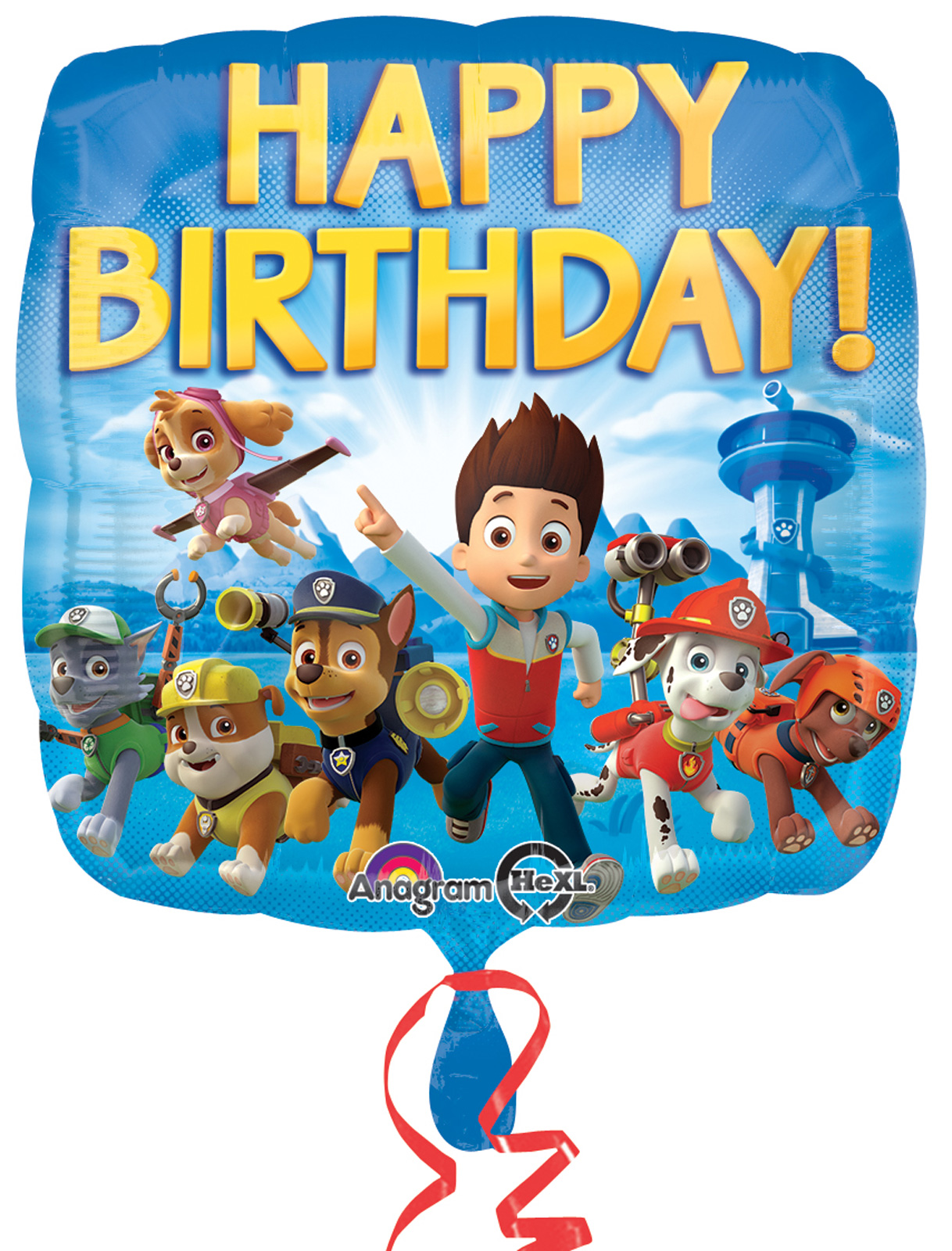 paw patrol happy birthday foil balloon  partybell