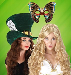 Costume wigs, costume masks, Halloween masks, Costume Hats, Halloween costume accessories, Halloween wigs